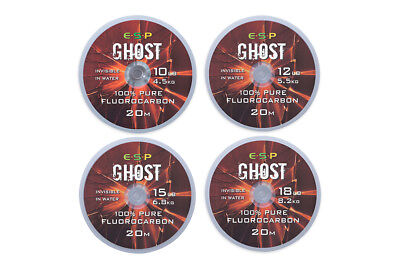 Brand New ESP Ghost Fluorocarbon Hooklink 20m - All Breaking Strains Available • 8.90£