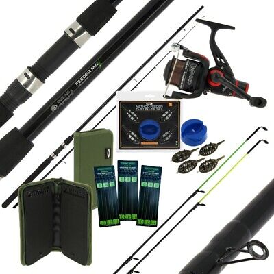Feeder Rod And Reel Set Quiver Feeder Fishing Rod 2 Tips Feeders Hair Rigs Ngt • 65.95£