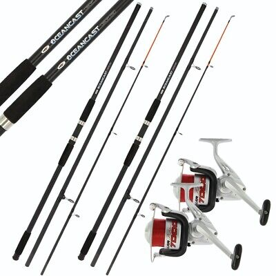 2 X 14ft BEACHCASTER ROD AND REEL SET BEACH CASTER RODS 14ft 20lb LINE ON REELS • 84.65£
