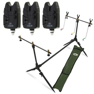 Carp Fishing Pod & Alarms With Swingers 3 Bite Alarms, 3 Rod Rests & Bag NGT • 35.52£