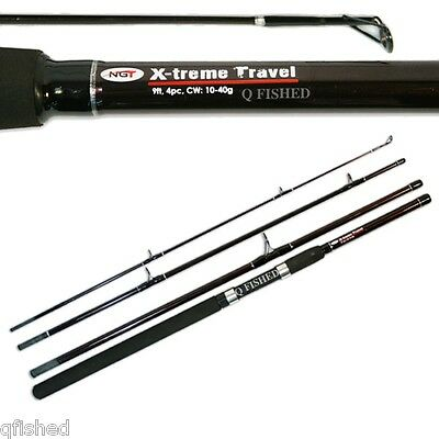 Carp Coarse Pike Sea Spinning 4pc 9ft Travel Fishing Rod - Fibreglass Ngt • 18.85£