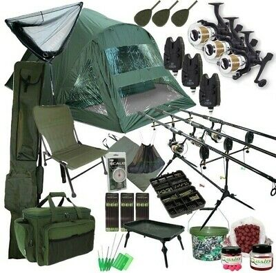 3 Rod Carp Set Up. 2 Man Double Skin Carp Fishing Bivvy Set. Rods Reels Chair • 349.95£