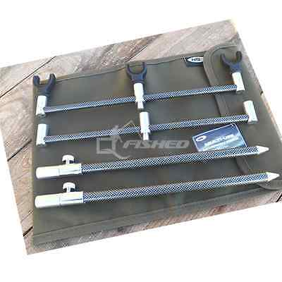 3 Rod Buzz Bar Carbon Fx Set Up With Bank Sticks Rod Rests & Bag • 16.46£