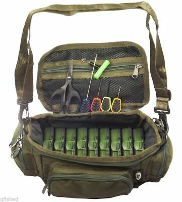 Mini Fishing Bag Carryall Baiting Needles Scissors 9 Tackle Boxes Carp Set • 19.95£