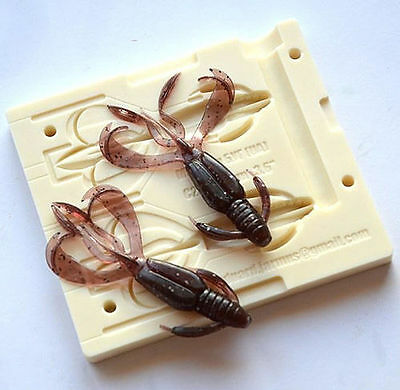 DIY Injection Bait Mold 2 CAVITY Crazy Flapper  2,8-4,4 Inch CNC Mold • 39.50£