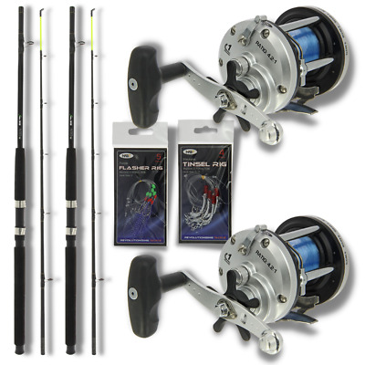 2 X BOAT RODS 6ft AND MULTIPLIER REELS SET WITH SEA FISHING FEATHERS NGT • 69.82£