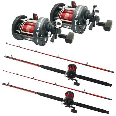 2 X FLADEN BOAT RODS AND MULTIPLIER REEL SETS BOAT SEA FISHING SET UP 1.8M COMBO • 69.95£