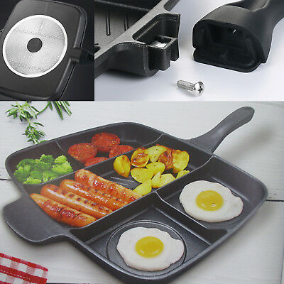 5 In 1 Multi Section Fryer Frying Pan Non Stick Grill Oven BBQ Induction Plate • 17.89£