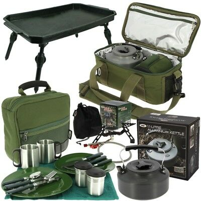 Fishing Brew Bag Cooking Set With Gas Stove Kettle Cutlery Bag Ngt Tackle • 72.36£