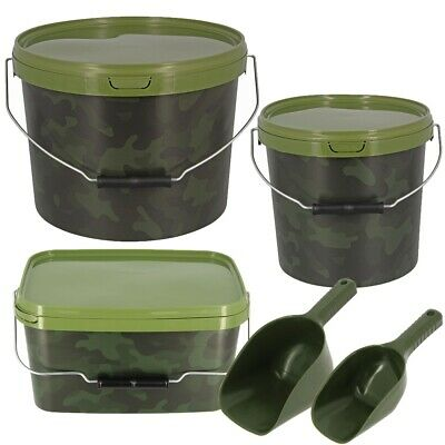 Baiting Spoon Camo Bait Buckets Deal For Boilies Pellets Carp Fishing Tackle • 13.95£