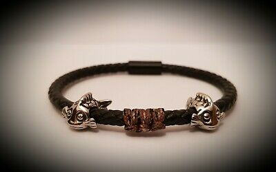 4mm Black Leather Bracelet With Stainless Fish Charms.Carp Angler Gift / Fishing • 19.99£