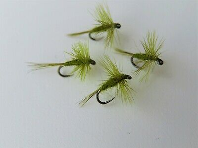 4 X OLIVE MIDGE Micro Dry Trout Flies Size 18, 20 BARBLESS • 2.86£