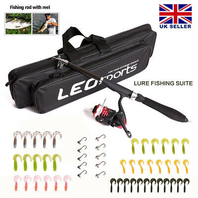 Telescopic Fishing Rod Reel Combo Full Kit Spinning Reel Pole Set With Fish Bag • 15.99£