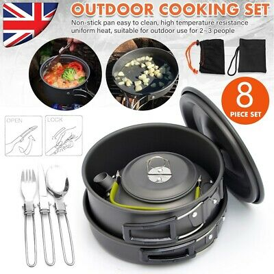 Portable Camping Cook Cooking Cookware Set Pots Pans Kettle Spoon Knife Fork UK • 19.59£