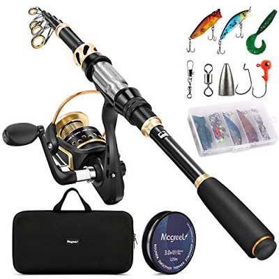 Magreel Telescopic Fishing Rod And Spinning Reel Combo Set Fishing Line, Lures • 40£