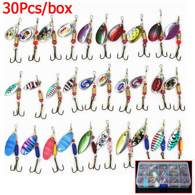30Pcs Crankbait Sea Perch Salmon Pike Trout Spinners Fishing Lures Tackle Hooks • 9.99£