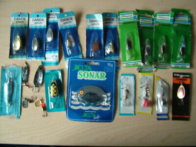 Collection 17x Carded Spinners Or Lures By Dande, Shakespeare And Delta • 14.99£