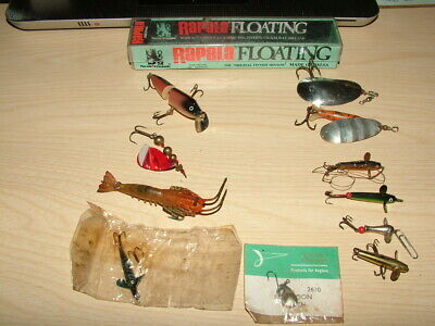 Vintage Salmon And Pike Fishing Lures, 11x. + Rapala Lure Box. Quill Lure. • 19.99£