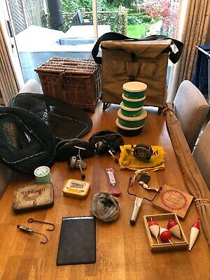 Vintage,Bamboo Rod,Centrepin & Fixed Spool Reels,Wicker Creel,Efgeeco Bait Boxes • 50£