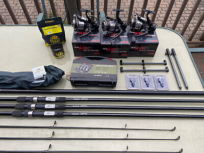 Carp Fishing Set Up 3 Rods Reels Wireless Alarms Net Buzz Bars Bait • 195£