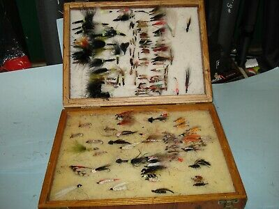 Wooden Fly Box Large Double Sided With Some Used Flies • 2.99£