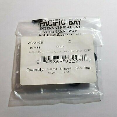 Pacific Bay Winding Check Aluminium Round Knurled Black Pack Of 12 • 14.99£