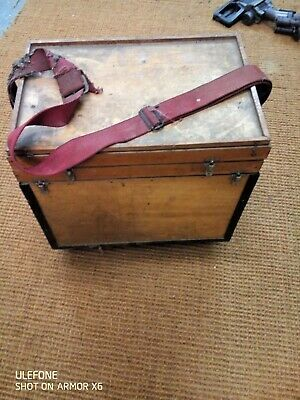 Vintage Wooden Fishing Box With Carrying Strap • 45£
