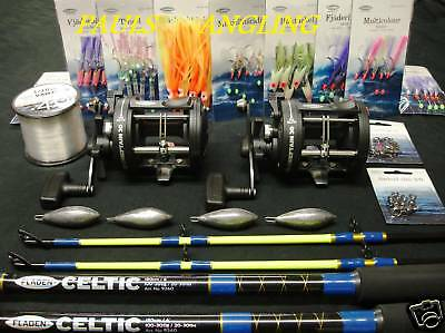 2 X Fladen Boat Fishing Rods + Reels + Tackle -Rigs Weights  & Line Included  • 100.31£