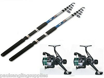 TFT 2 X 8 Ft Telescopic Travel Fishing Rods + Fishing Reels With Line  • 30.62£