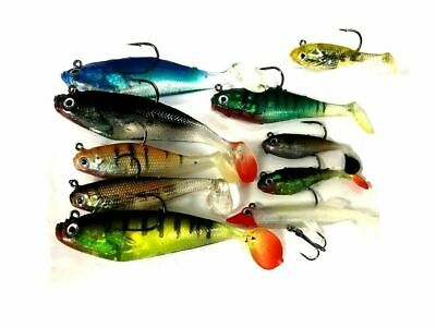 10 X Assorted Shad Lures Soft Bait Fishing Shads • 14.46£