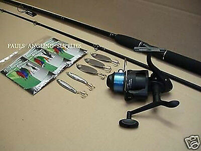 MACKEREL /  BASS SPINNING 9 Ft ROD REEL LINE ALL TACKLE NEW • 43.96£