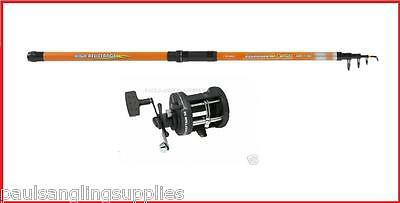 11 Ft Mitchell Tele Telescopic Sea Fishing Rod & Fladen Multiplier Reel & Line • 62.98£