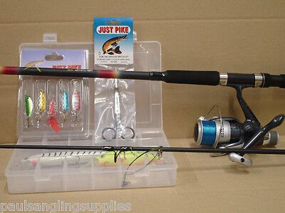 Pike Fishing Spinning Kit Rod Reel Tackle Box Lures Plugs & Traces • 42.64£