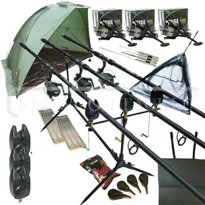 Full Carp Fishing Set Up With Rods Reels Alarms Landing Net Bait Bivvy & Tackle • 149.89£