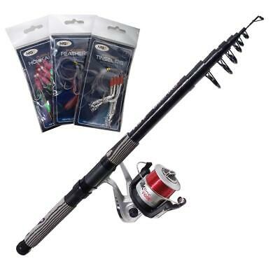 TELESCOPIC FISHING BEACHCASTER ROD 12FT + REEL SEA BEACH + Mackerel Feathers • 29.95£