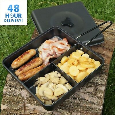 Camping Frying Pan & Lid And Folding Handle Multi Section Cooking Fishing NGT • 13.45£