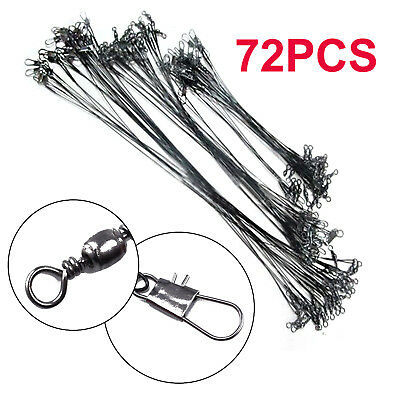 72x Fishing Lures Leader Stainless Wire Trace Set Spinning Pike Lines 16/23/31cm • 7.59£