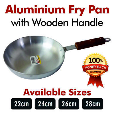 High Quality Heavy Gauge Aluminium Frying Cooking Pan With Wooden Handle 22-30CM • 9.94£
