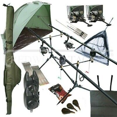 Deluxe Full Carp Fishing Set Up With 2 X Rods Reels Alarms Pod Tackle & Bait • 143.27£