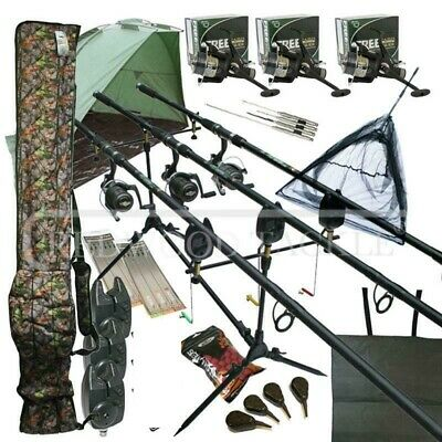 Camo Mega Carp Fishing Set Up Kit Rods Reels Rigs Alarms Bait Tackle Tools Mat   • 174.25£