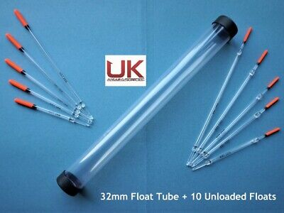 UK Angling Supplies 32mm Float Tube + 10 Unloaded Clear Floats • 7.99£