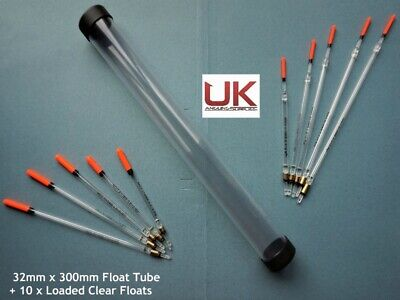 UK Angling Supplies 32mm Float Tube + 10 Loaded Clear Floats • 8.99£