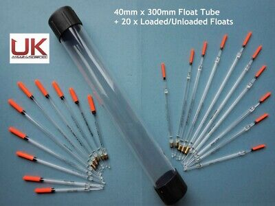 UK Angling Supplies 40mm Float Tube + 20 Loaded Clear Floats • 11.99£