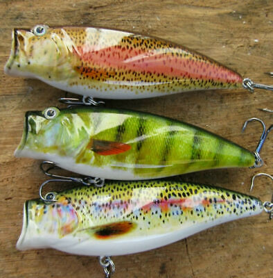 3 Genuine Realscale Surface Poppers Pike Perch Roach Trout Salmon Lures Bait  • 11.99£