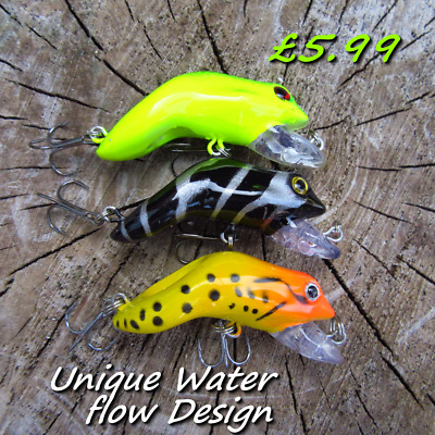 3 Water Flow Savage Frogs Shallow Diving Baits Pike Perch Chub Fishing Gear Lure • 5.99£