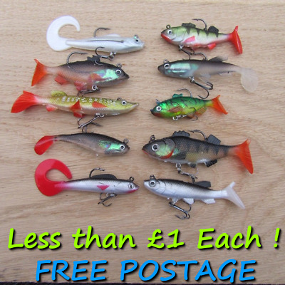 10 Soft Jelly Rubber Weighted Pike Perch Trout Bait Lures Drop Shot Spinning Rig • 9.99£