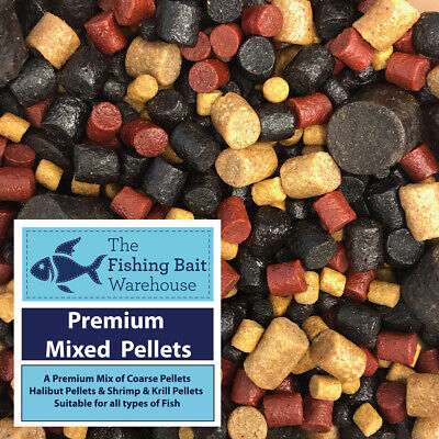 Premium Mixed Pellets, 1kg, 2kg, 5kg, 20kg, Carp Fishing Pellets, Tench, Halibut • 42.99£