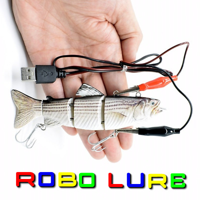 Realscale Rechargeable Jointed Robotic Live Fish Bait Lure Pike Perch Usb Plug ! • 18.99£
