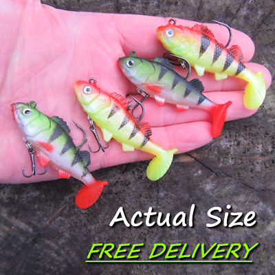 4 Soft Jelly Rubber Weighted Paddle Tail Fire Tiger Perch Pike Fish Lure Bait !! • 5.99£