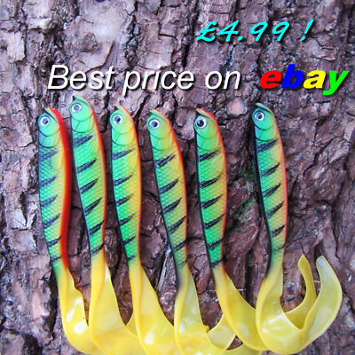 6 Toma Savage Cannibal Curly Tail Shads Perch Pike Lure Bait Drop Shot Gear Worm • 4.99£